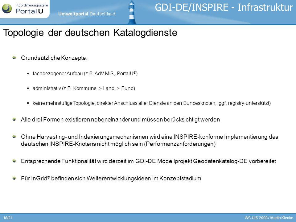 WS UIS 2008 / Martin Klenke18/21 GDI-DE/INSPIRE - Infrastruktur Grundsätzliche Konzepte: fachbezogener Aufbau (z.B. AdV MIS, PortalU ® ) administrativ