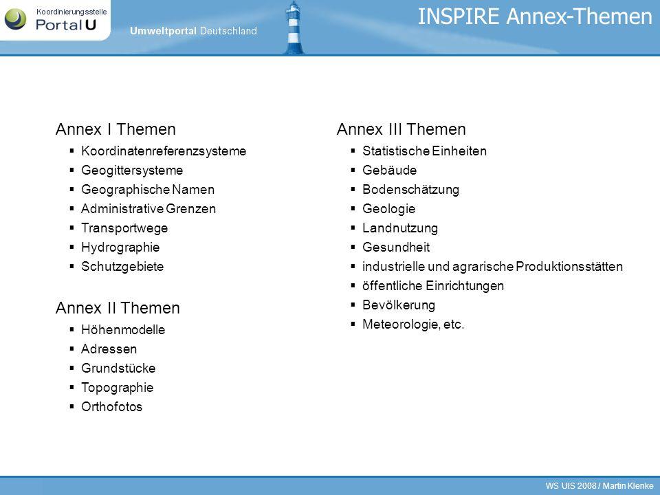 WS UIS 2008 / Martin Klenke25/21 INSPIRE Annex-Themen Annex I Themen Koordinatenreferenzsysteme Geogittersysteme Geographische Namen Administrative Gr