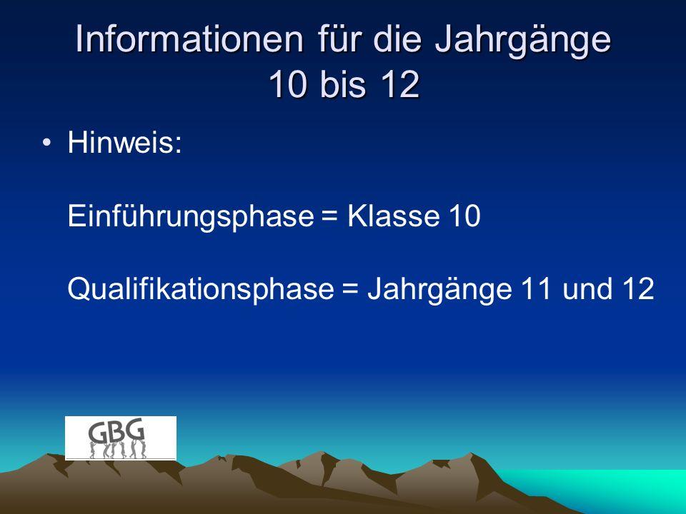 Informationen für die Jahrgänge 10 bis 12 Hinweis: Einführungsphase = Klasse 10 Qualifikationsphase = Jahrgänge 11 und 12