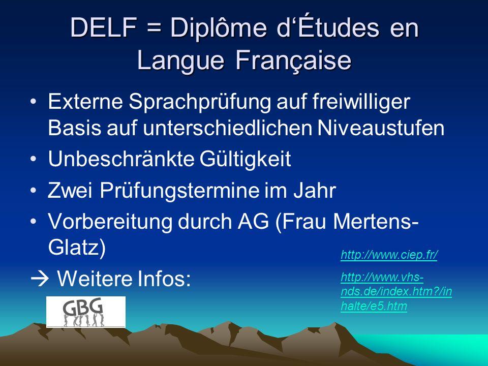 DELF = Diplôme dÉtudes en Langue Française Externe Sprachprüfung auf freiwilliger Basis auf unterschiedlichen Niveaustufen Unbeschränkte Gültigkeit Zw