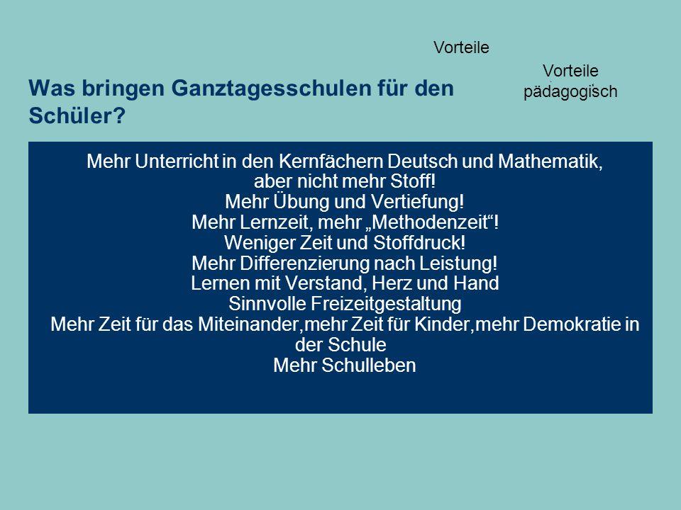 Was bringen Ganztagesschulen für den Schüler? Mehr Unterricht in den Kernfächern Deutsch und Mathematik, aber nicht mehr Stoff! Mehr Übung und Vertief