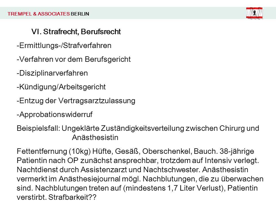 TREMPEL & ASSOCIATES BERLIN VI. Strafrecht, Berufsrecht -Ermittlungs-/Strafverfahren -Verfahren vor dem Berufsgericht -Disziplinarverfahren -K ü ndigu
