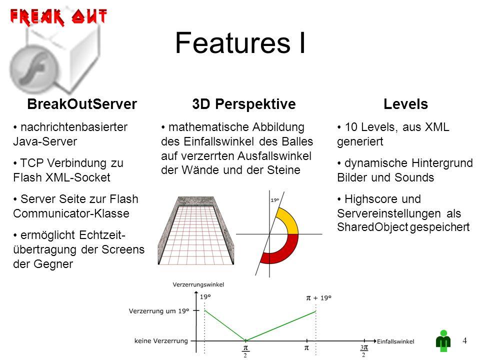 Features I 4 BreakOutServer nachrichtenbasierter Java-Server TCP Verbindung zu Flash XML-Socket Server Seite zur Flash Communicator-Klasse ermöglicht Echtzeit- übertragung der Screens der Gegner 3D Perspektive mathematische Abbildung des Einfallswinkel des Balles auf verzerrten Ausfallswinkel der Wände und der Steine Levels 10 Levels, aus XML generiert dynamische Hintergrund Bilder und Sounds Highscore und Servereinstellungen als SharedObject gespeichert