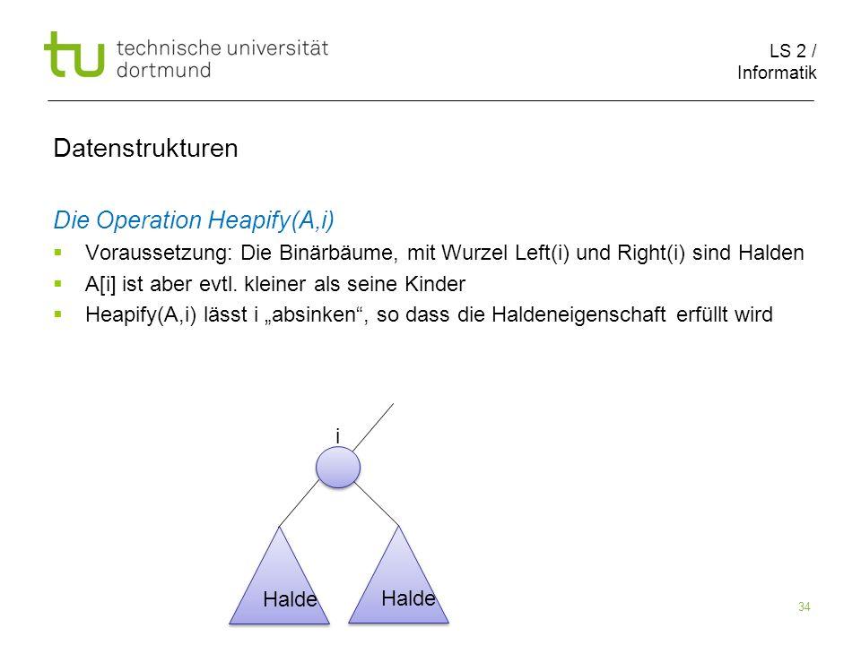 LS 2 / Informatik 34 Die Operation Heapify(A,i) Voraussetzung: Die Binärbäume, mit Wurzel Left(i) und Right(i) sind Halden A[i] ist aber evtl. kleiner