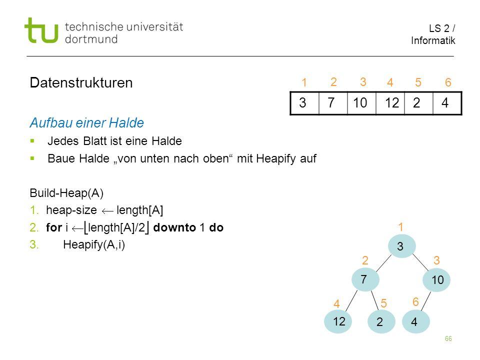 LS 2 / Informatik 66 Aufbau einer Halde Jedes Blatt ist eine Halde Baue Halde von unten nach oben mit Heapify auf Build-Heap(A) 1. heap-size length[A]