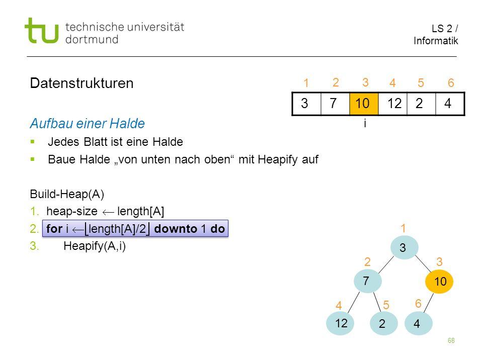 LS 2 / Informatik 68 Aufbau einer Halde Jedes Blatt ist eine Halde Baue Halde von unten nach oben mit Heapify auf Build-Heap(A) 1. heap-size length[A]