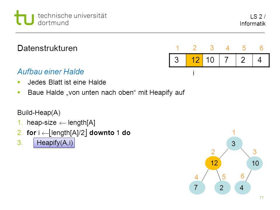 LS 2 / Informatik 71 Aufbau einer Halde Jedes Blatt ist eine Halde Baue Halde von unten nach oben mit Heapify auf Build-Heap(A) 1. heap-size length[A]