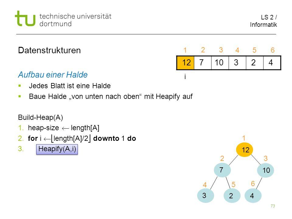 LS 2 / Informatik 73 Aufbau einer Halde Jedes Blatt ist eine Halde Baue Halde von unten nach oben mit Heapify auf Build-Heap(A) 1. heap-size length[A]