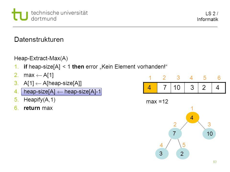 LS 2 / Informatik 83 Heap-Extract-Max(A) 1. if heap-size[A] < 1 then error Kein Element vorhanden! 2. max A[1] 3. A[1] A[heap-size[A]] 4. heap-size[A]