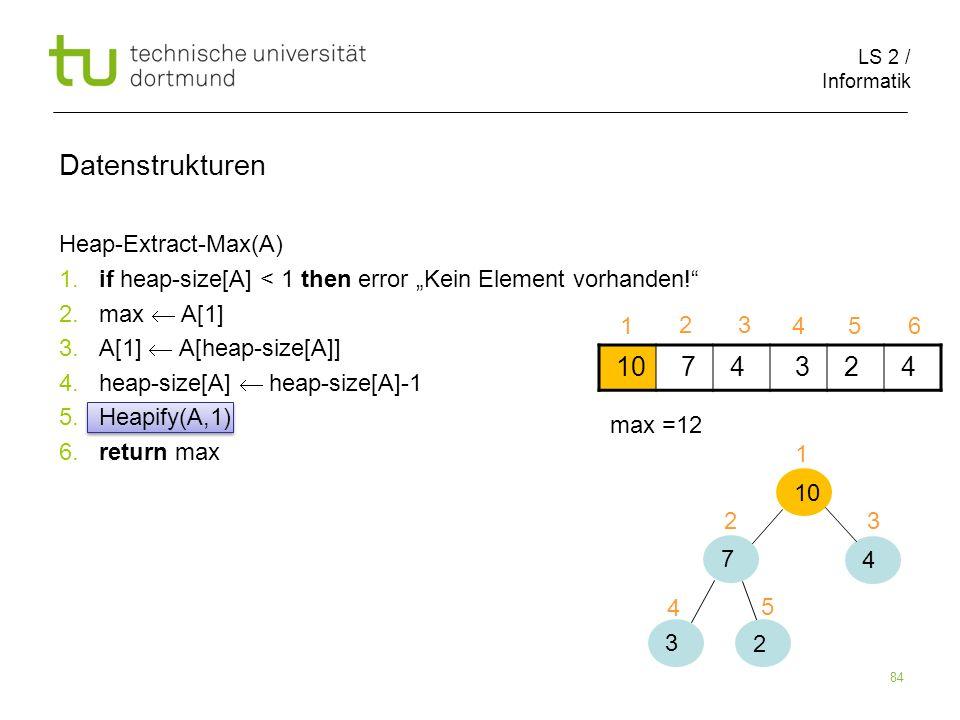 LS 2 / Informatik 84 Heap-Extract-Max(A) 1. if heap-size[A] < 1 then error Kein Element vorhanden! 2. max A[1] 3. A[1] A[heap-size[A]] 4. heap-size[A]