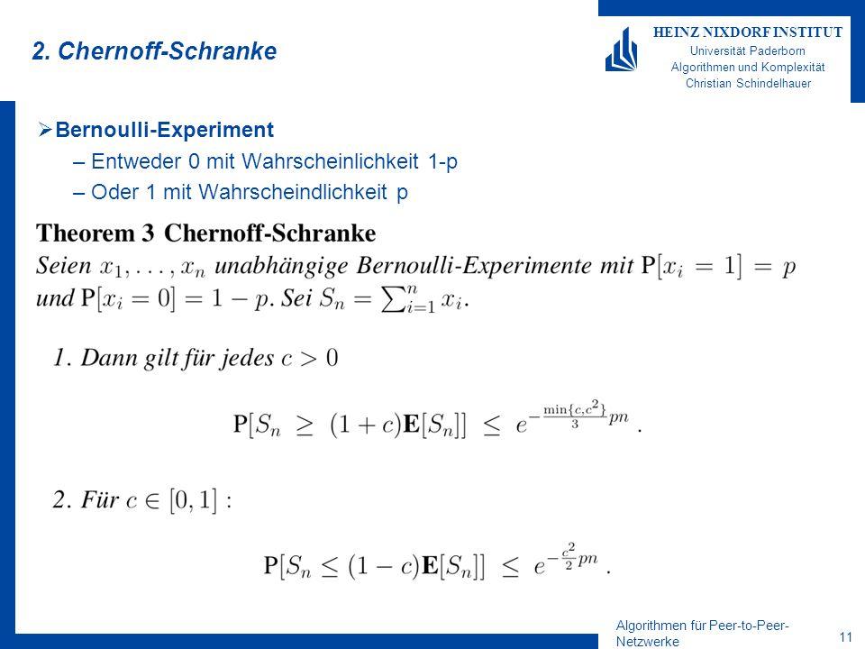 Algorithmen für Peer-to-Peer- Netzwerke 10 HEINZ NIXDORF INSTITUT Universität Paderborn Algorithmen und Komplexität Christian Schindelhauer Beweis der