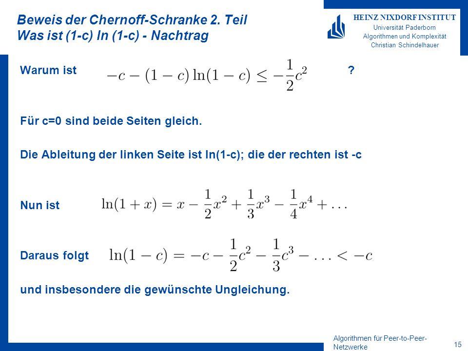 Algorithmen für Peer-to-Peer- Netzwerke 14 HEINZ NIXDORF INSTITUT Universität Paderborn Algorithmen und Komplexität Christian Schindelhauer Beweis der