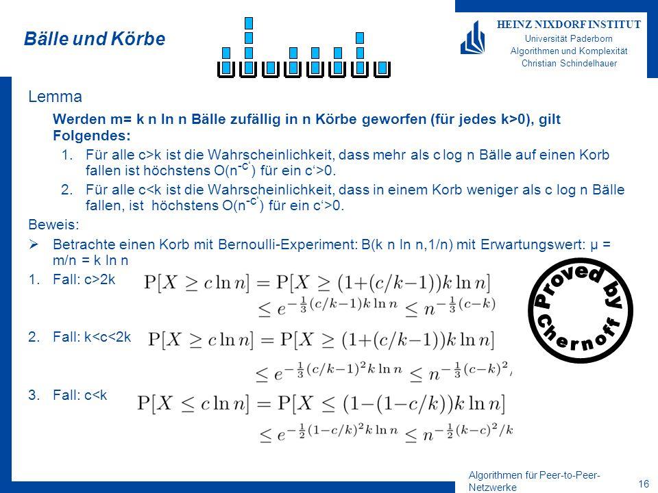 Algorithmen für Peer-to-Peer- Netzwerke 15 HEINZ NIXDORF INSTITUT Universität Paderborn Algorithmen und Komplexität Christian Schindelhauer Beweis der