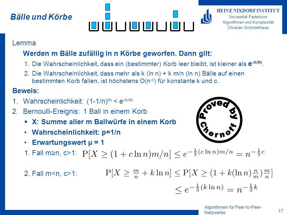 Algorithmen für Peer-to-Peer- Netzwerke 16 HEINZ NIXDORF INSTITUT Universität Paderborn Algorithmen und Komplexität Christian Schindelhauer Bälle und
