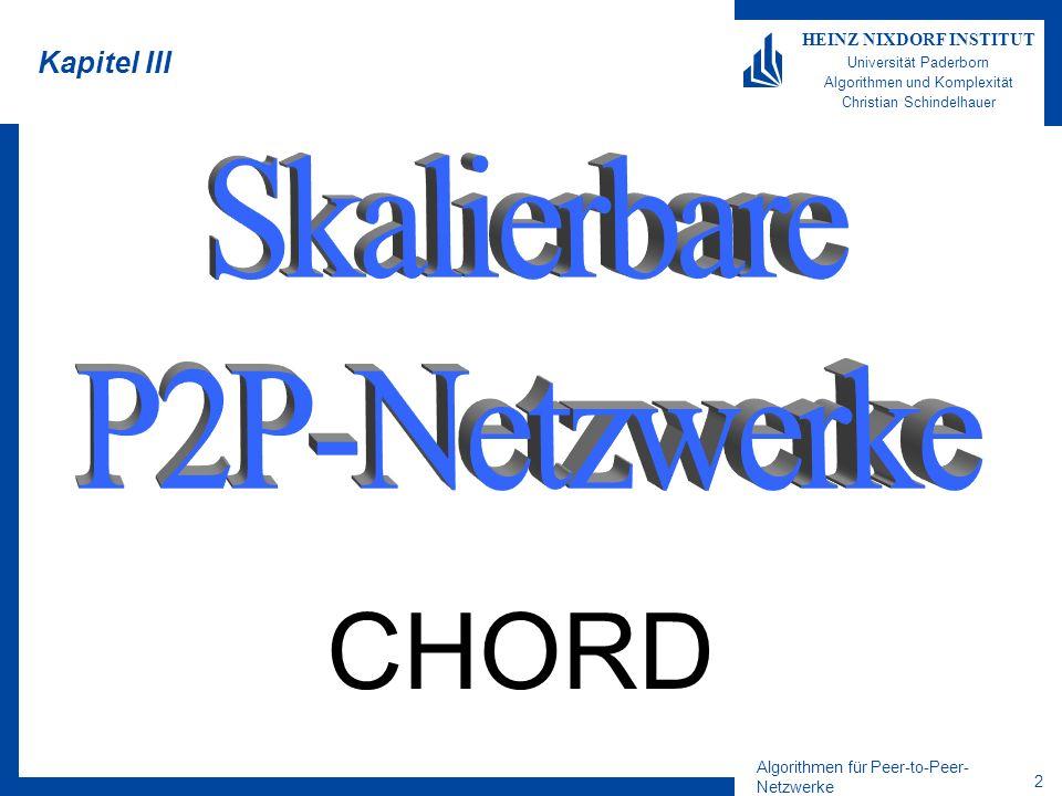 1 HEINZ NIXDORF INSTITUT Universität Paderborn Algorithmen und Komplexität Algorithmen für Peer-to-Peer-Netzwerke Sommersemester 2004 21.05.2004 5. Vo