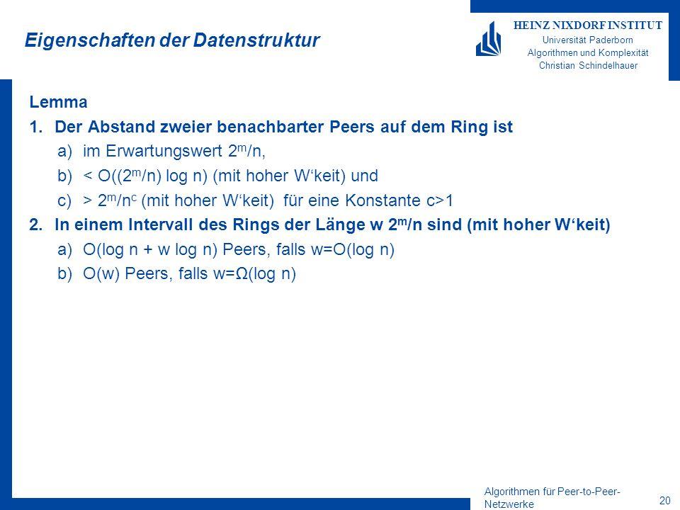 Algorithmen für Peer-to-Peer- Netzwerke 19 HEINZ NIXDORF INSTITUT Universität Paderborn Algorithmen und Komplexität Christian Schindelhauer Chord als