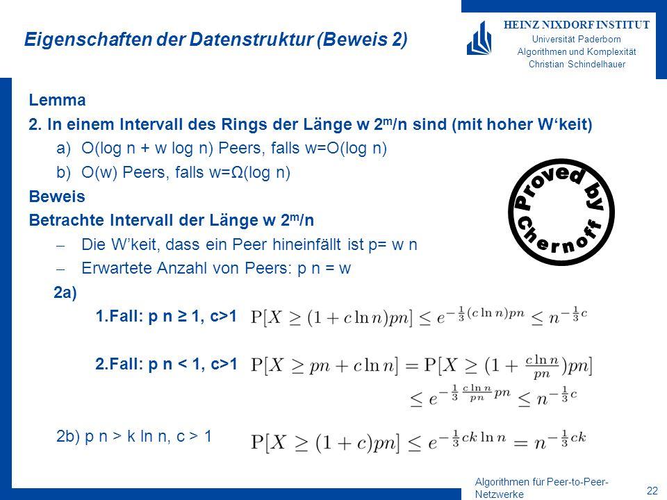 Algorithmen für Peer-to-Peer- Netzwerke 21 HEINZ NIXDORF INSTITUT Universität Paderborn Algorithmen und Komplexität Christian Schindelhauer Eigenschaf