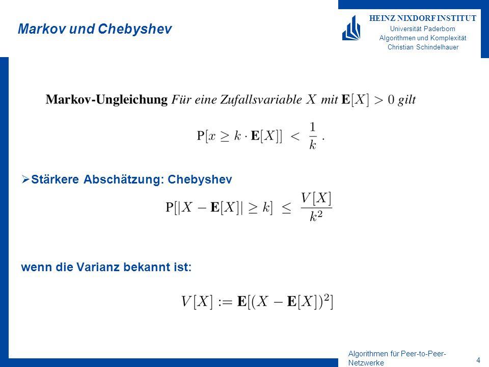 Algorithmen für Peer-to-Peer- Netzwerke 4 HEINZ NIXDORF INSTITUT Universität Paderborn Algorithmen und Komplexität Christian Schindelhauer Markov und Chebyshev Stärkere Abschätzung: Chebyshev wenn die Varianz bekannt ist: