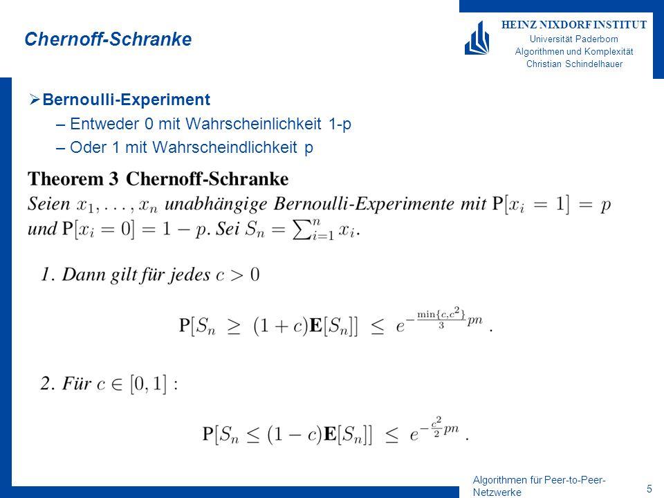 Algorithmen für Peer-to-Peer- Netzwerke 25 HEINZ NIXDORF INSTITUT Universität Paderborn Algorithmen und Komplexität Christian Schindelhauer Fingeranzahl Lemma 1.Der Ausgrad im CHORD-Netzwerk ist O(log n) mit hoher Wkeit 2.Der Eingrad im CHORD-Netzwerk ist O(log 2 n) mit hoher Wkeit Beweis 1.Der minimale Abstand zweier Peers ist 2 m /n c (mit hoher Wkeit) – Damit ist der Ausgrad beschränkt durch c log n (mit hoher Wkeit) 2.Der maximale Abstand zweier Peers ist O(log n 2 m /n) – Jeder Peer, der mit einem seiner Finger auf diese Linie zeigt, erhöht den Eingrad des nachstehenden Peers.