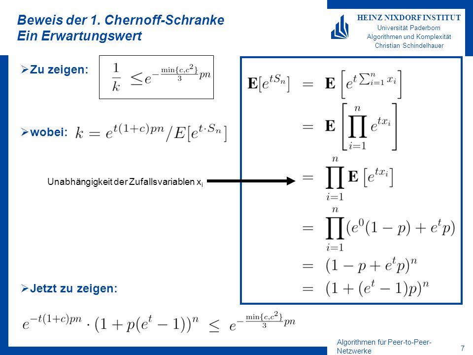 Algorithmen für Peer-to-Peer- Netzwerke 27 HEINZ NIXDORF INSTITUT Universität Paderborn Algorithmen und Komplexität Christian Schindelhauer b s b.finger[m] b.finger[m-1] c xy Suchen in Chord Theorem Die Suche braucht mit hoher Wkeit O(log n) Sprünge Beweis: Mit jedem Sprung wird die Entfernung zum Ziel mindestens halbiert Zu Beginn ist der Abstand höchstens 2 m Der Mindestabstand zweier benachbarter Peers ist 2 m /n c mit hoher Wkeit Damit ist die Laufzeit beschränkt durch c log n