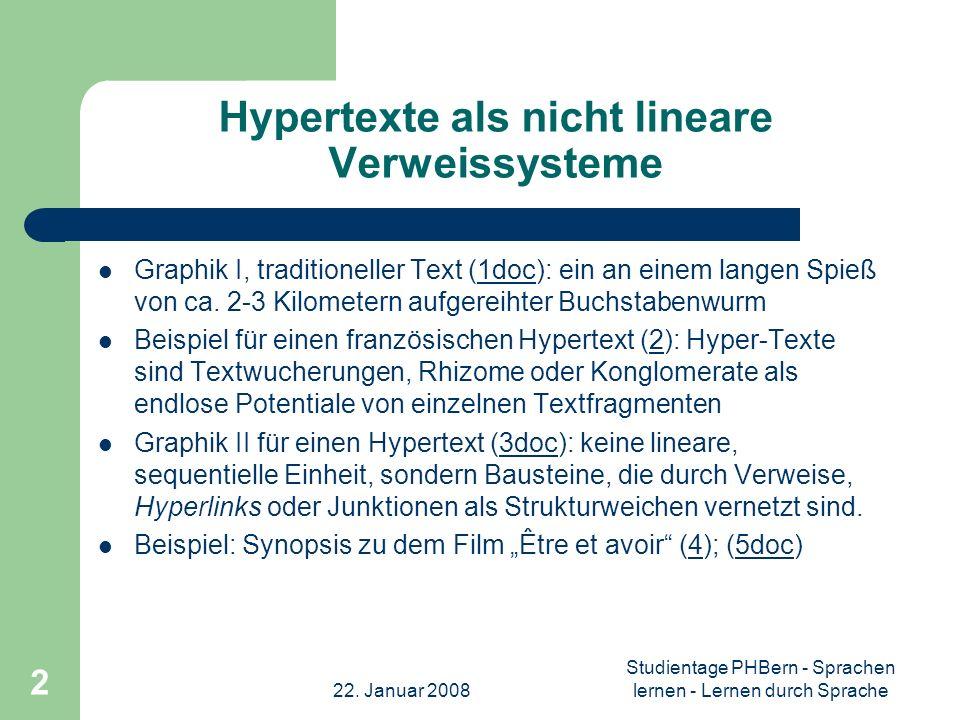 22. Januar 2008 Studientage PHBern - Sprachen lernen - Lernen durch Sprache 2 Hypertexte als nicht lineare Verweissysteme Graphik I, traditioneller Te