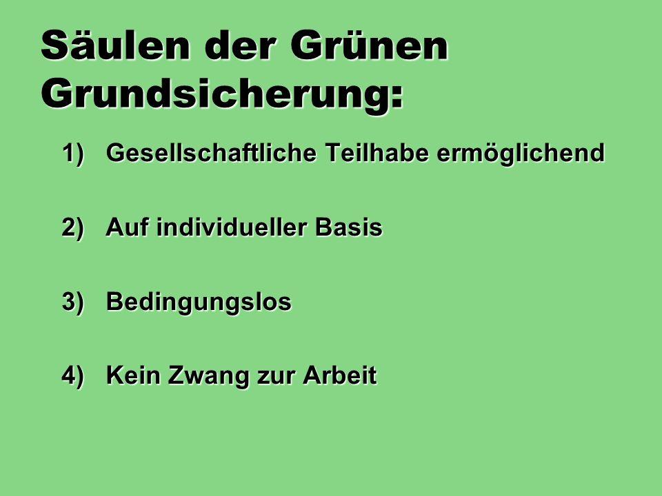 Säulen der Grünen Grundsicherung: 1)Gesellschaftliche Teilhabe ermöglichend 2)Auf individueller Basis 3)Bedingungslos 4)Kein Zwang zur Arbeit