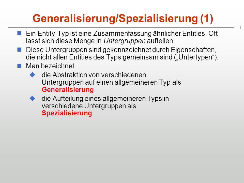 1 Generalisierung/Spezialisierung (1) Ein Entity-Typ ist eine Zusammenfassung ähnlicher Entities. Oft lässt sich diese Menge in Untergruppen aufteilen