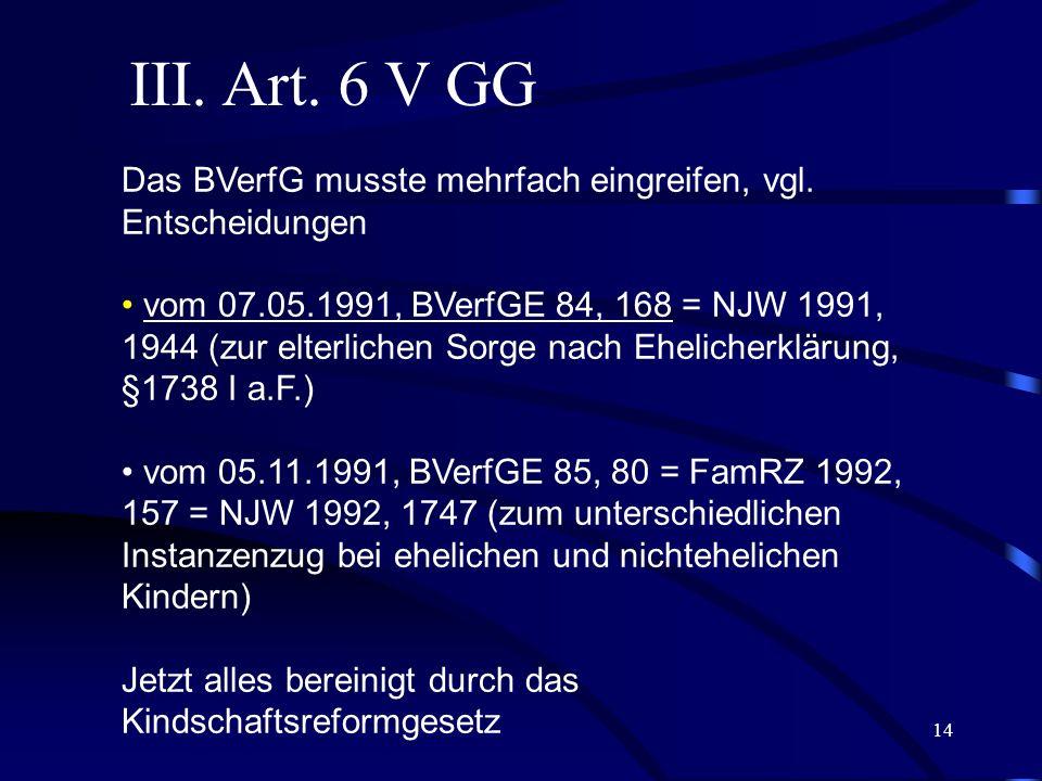 13 II. Art. 6 II, III GG Beispiel 3: BVerfG FamRZ 2005, 1057 Klassisches Abwehrrecht Bei der Umgangsentscheidung haben die Gerichte sich im Einzelfall
