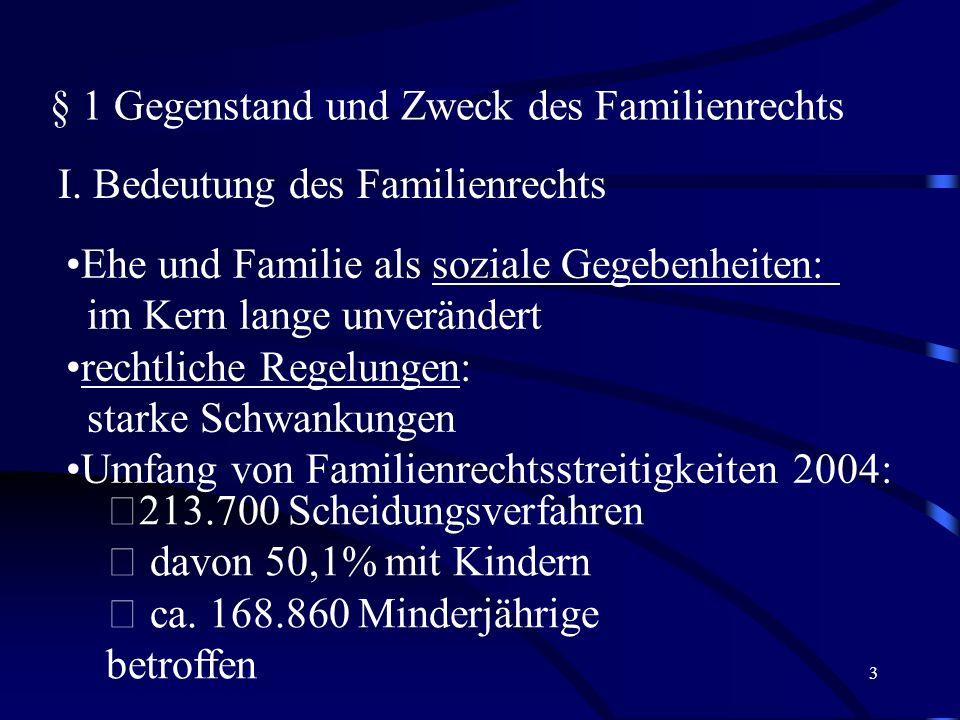 2 1. Abschnitt: Einleitung § 1 Gegenstand und Zweck des Familienrechts § 2 Die Bedeutung der Grundrechte im Ehe- und Familienrecht § 3 Grundbegriffe d