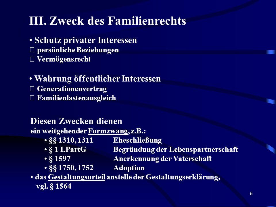 5 Das Familienrecht regelt also unter welchen Voraussetzungen eine Ehe geschlossen und wieder aufgelöst wird unter welchen Voraussetzungen eine nichte