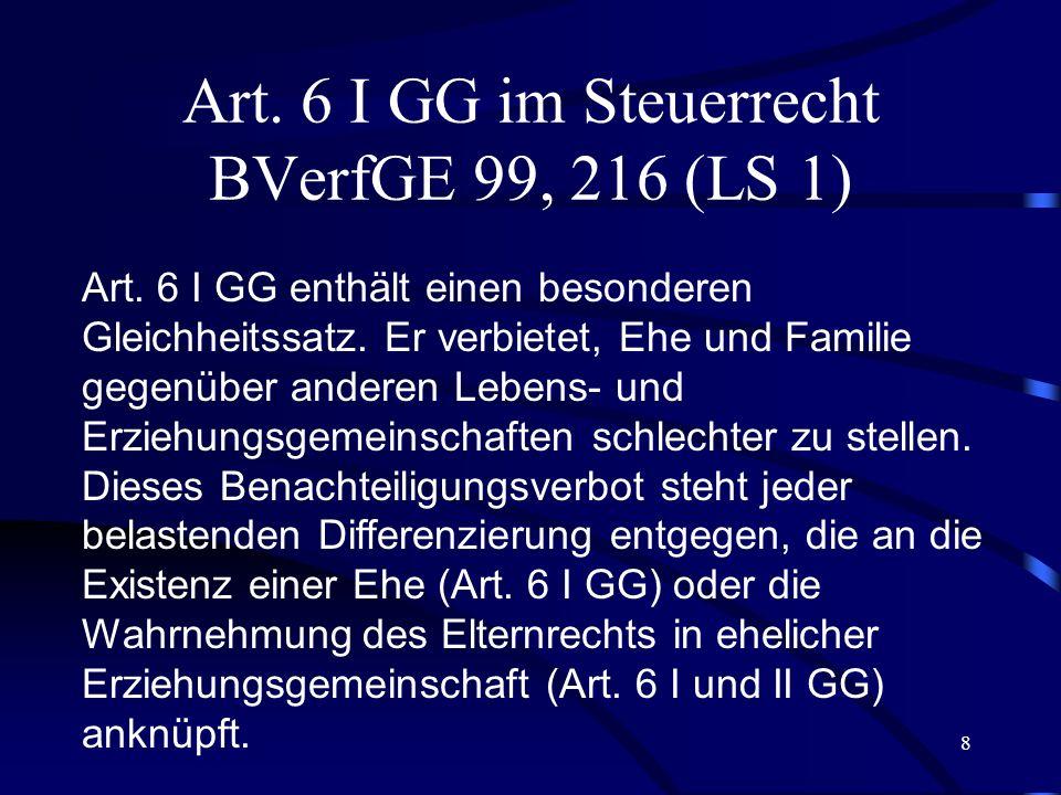 8 Art.6 I GG im Steuerrecht BVerfGE 99, 216 (LS 1) Art.