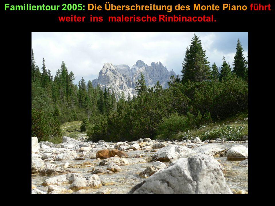Familientour 2005: Die Überschreitung des Monte Piano führt weiter ins malerische Rinbinacotal.