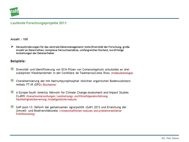 Ort, Titel, Datum Laufende Forschungsprojekte 2011: Anzahl : 100 Herausforderungen für das zentrale Datenmanagement: hohe Diversität der Forschung, gr