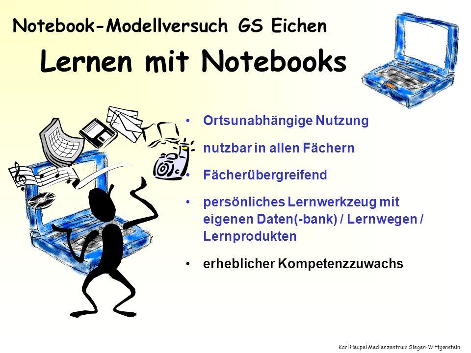 Karl Heupel Medienzentrum Siegen-Wittgenstein Lernen mit Notebooks Ortsunabhängige Nutzung nutzbar in allen Fächern Fächerübergreifend persönliches Le
