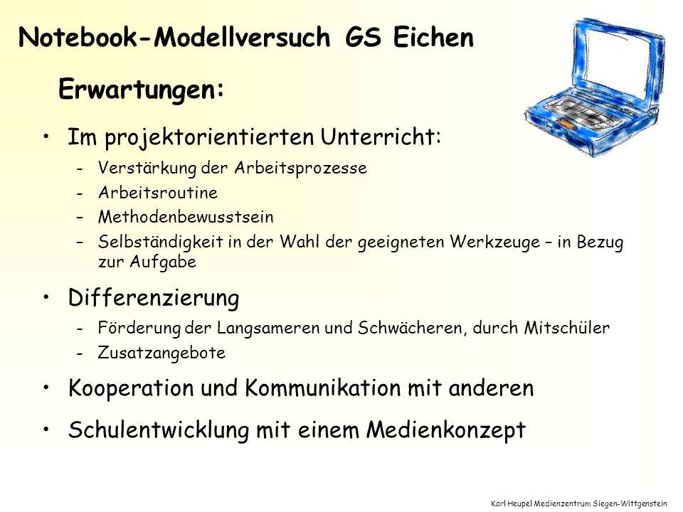 Karl Heupel Medienzentrum Siegen-Wittgenstein Im projektorientierten Unterricht: -Verstärkung der Arbeitsprozesse -Arbeitsroutine –Methodenbewusstsein