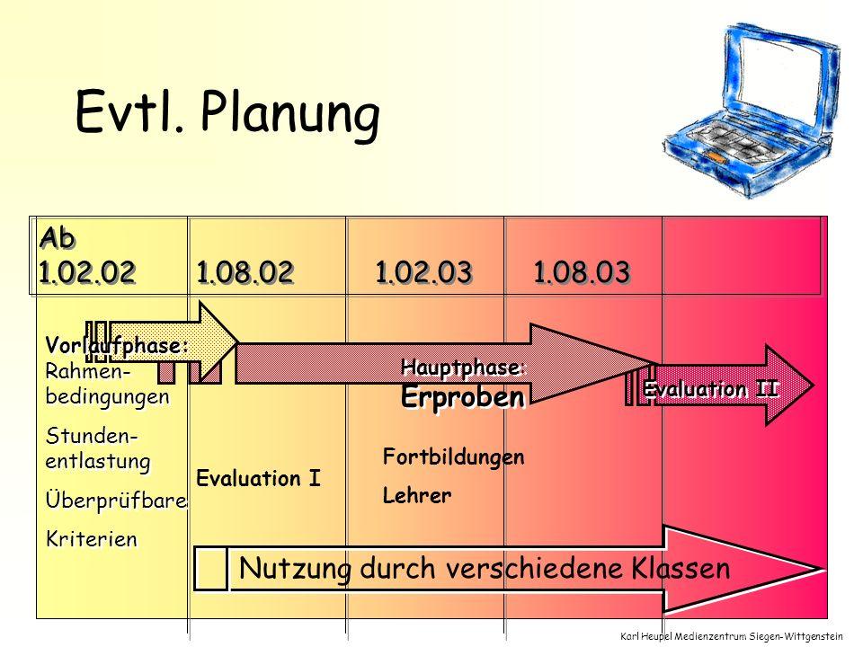 Karl Heupel Medienzentrum Siegen-Wittgenstein Evtl. Planung Ab 1.02.02 1.08.02 1.02.03 1.02.03 1.08.03 Hauptphase: Erproben Evaluation II Vorlaufphase