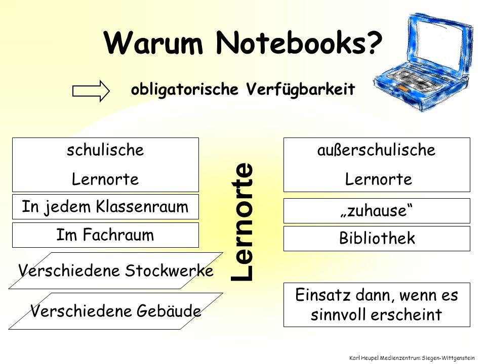 Karl Heupel Medienzentrum Siegen-Wittgenstein Lernorte Warum Notebooks? In jedem Klassenraum Im Fachraum außerschulische Lernorte zuhause schulische L