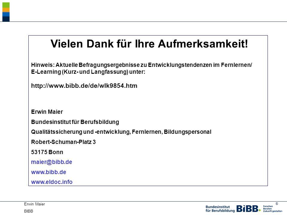 ® Erwin Maier BIBB Vielen Dank für Ihre Aufmerksamkeit! Hinweis: Aktuelle Befragungsergebnisse zu Entwicklungstendenzen im Fernlernen/ E-Learning (Kur