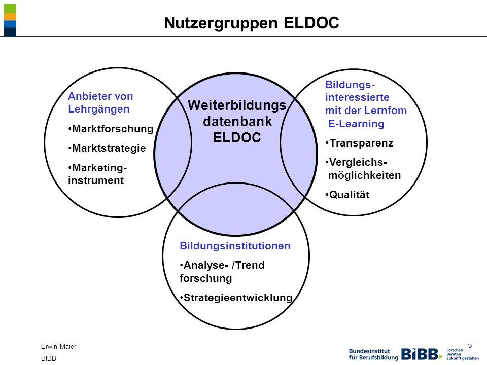 ® Erwin Maier BIBB Nutzergruppen ELDOC Weiterbildungs datenbank ELDOC Bildungs- interessierte mit der Lernfom E-Learning Transparenz Vergleichs- mögli