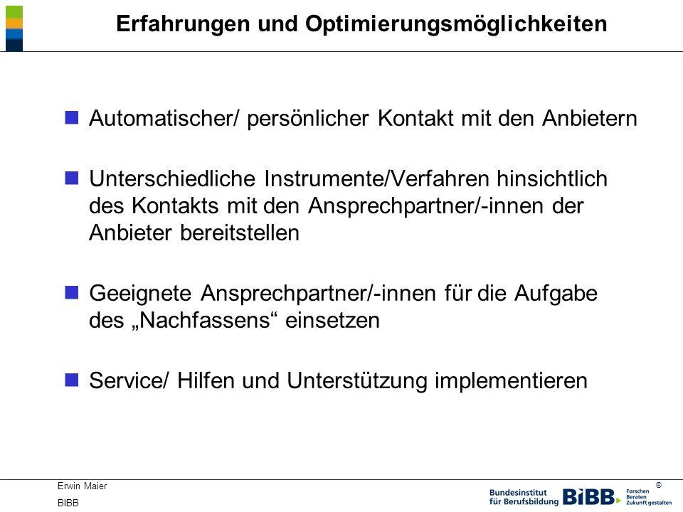 ® Erwin Maier BIBB Erfahrungen und Optimierungsmöglichkeiten nAutomatischer/ persönlicher Kontakt mit den Anbietern nUnterschiedliche Instrumente/Verf