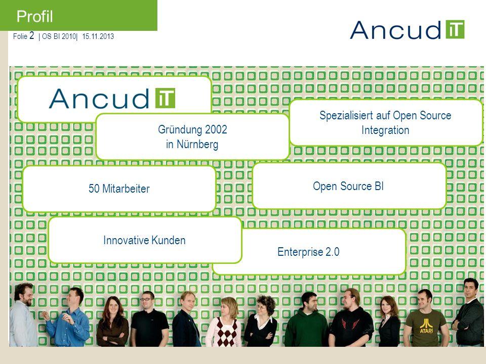 Folie 2   OS BI 2010  15.11.2013 50 Mitarbeiter Enterprise 2.0 Spezialisiert auf Open Source Integration Open Source BI Gründung 2002 in Nürnberg Inno