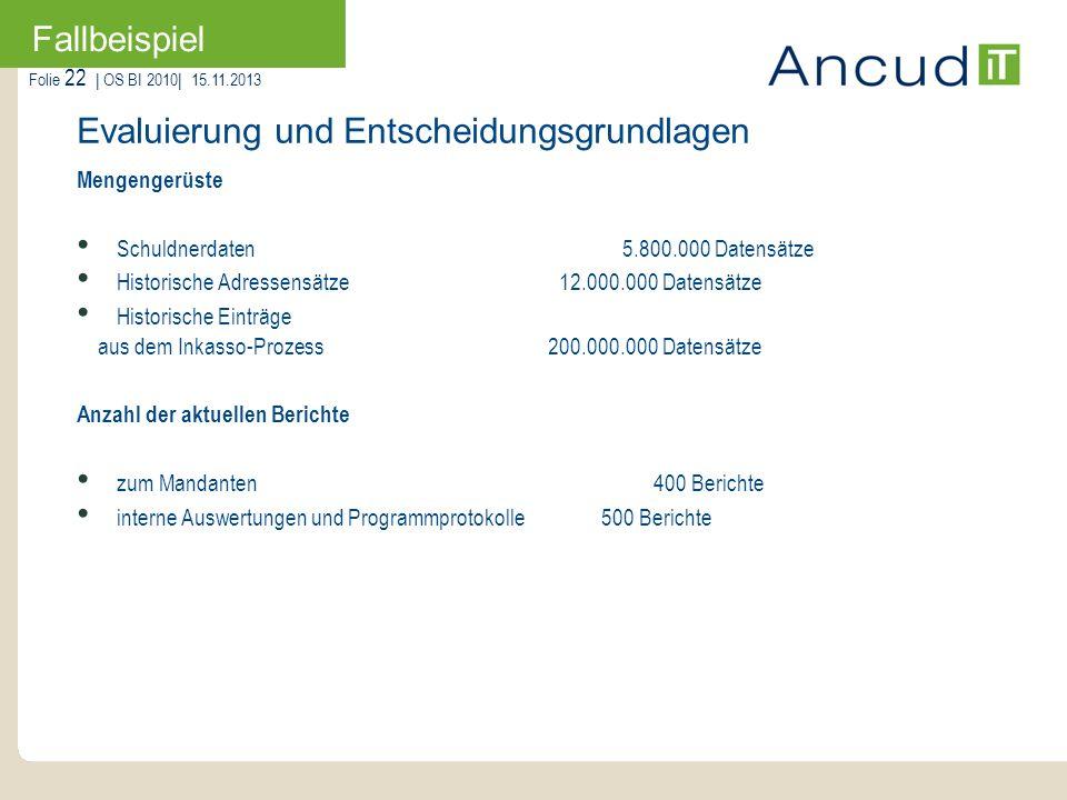 Folie 22   OS BI 2010  15.11.2013 Fallbeispiel Mengengerüste Schuldnerdaten 5.800.000 Datensätze Historische Adressensätze 12.000.000 Datensätze Histo