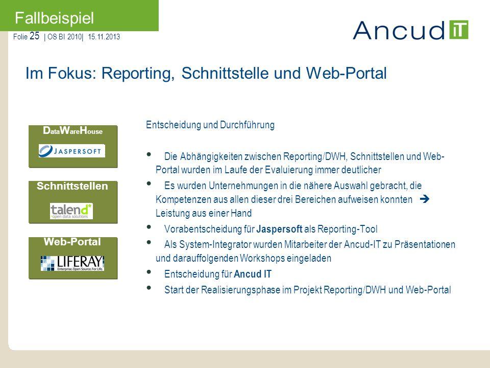 Folie 25   OS BI 2010  15.11.2013 Fallbeispiel Im Fokus: Reporting, Schnittstelle und Web-Portal D ata W are H ouse Web-Portal Schnittstellen Entschei