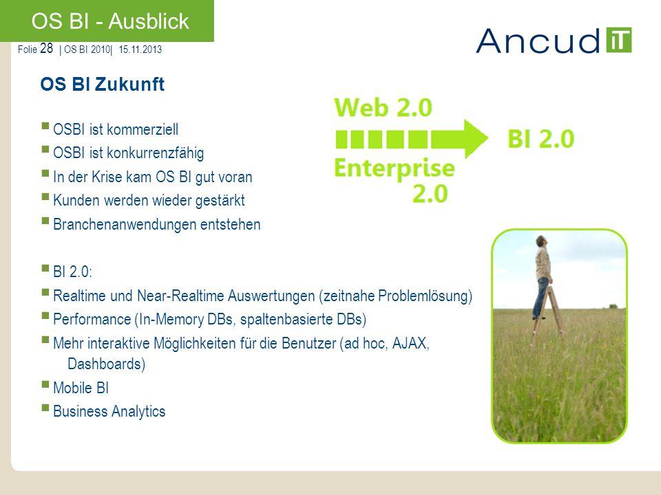 Folie 28   OS BI 2010  15.11.2013 OS BI Zukunft OSBI ist kommerziell OSBI ist konkurrenzfähig In der Krise kam OS BI gut voran Kunden werden wieder ge