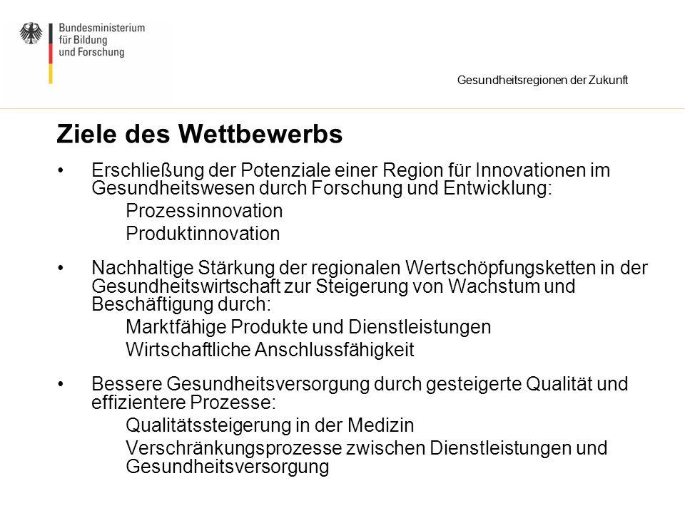 Ziele des Wettbewerbs Erschließung der Potenziale einer Region für Innovationen im Gesundheitswesen durch Forschung und Entwicklung: Prozessinnovation