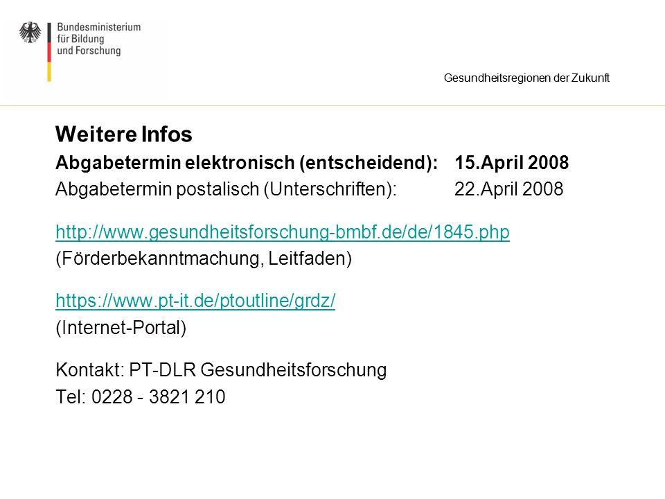 Weitere Infos Abgabetermin elektronisch (entscheidend): 15.April 2008 Abgabetermin postalisch (Unterschriften): 22.April 2008 http://www.gesundheitsfo