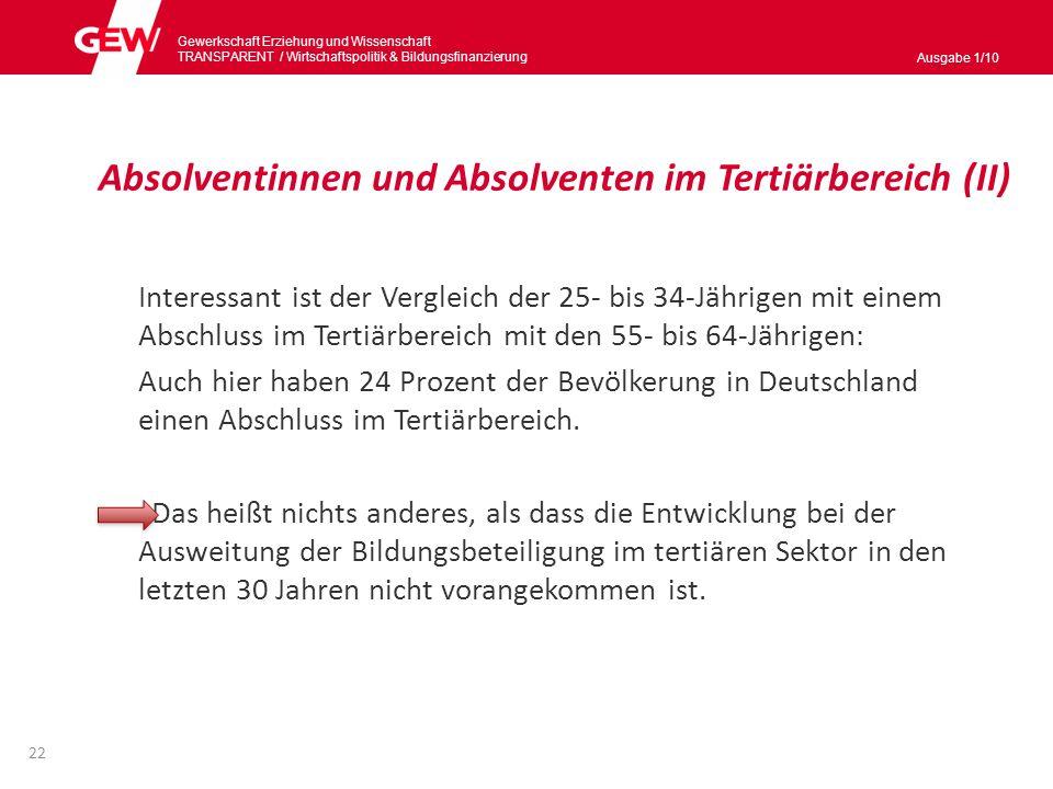 Gewerkschaft Erziehung und Wissenschaft TRANSPARENT / Wirtschaftspolitik & Bildungsnanzierung Ausgabe 1/10 23
