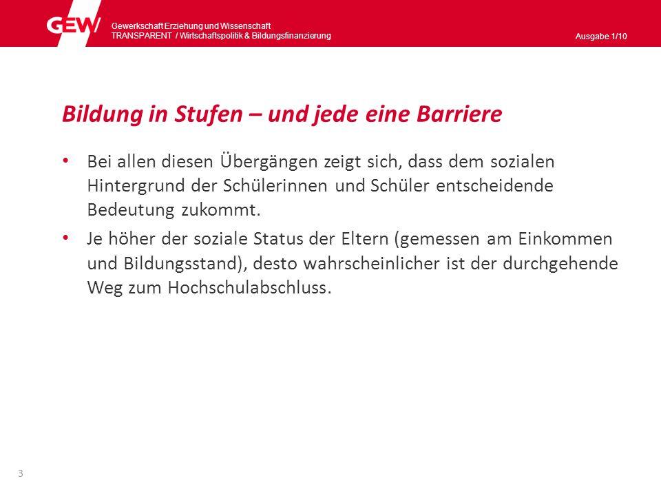 Gewerkschaft Erziehung und Wissenschaft TRANSPARENT / Wirtschaftspolitik & Bildungsnanzierung Ausgabe 1/10 Bildungsbeteiligung im Vorschulalter hoch – aber mit Segregationstendenzen belastet Nur 15 % der unter Dreijährigen werden in Westdeutschland in Tageseinrichtungen und in der Tagespflege betreut, in Ostdeutschland 45 %.