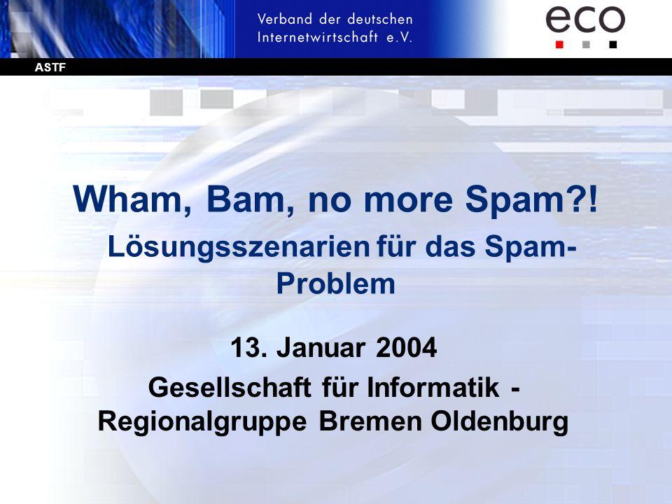 ASTF Wham, Bam, no more Spam?! Lösungsszenarien für das Spam- Problem 13. Januar 2004 Gesellschaft für Informatik - Regionalgruppe Bremen Oldenburg
