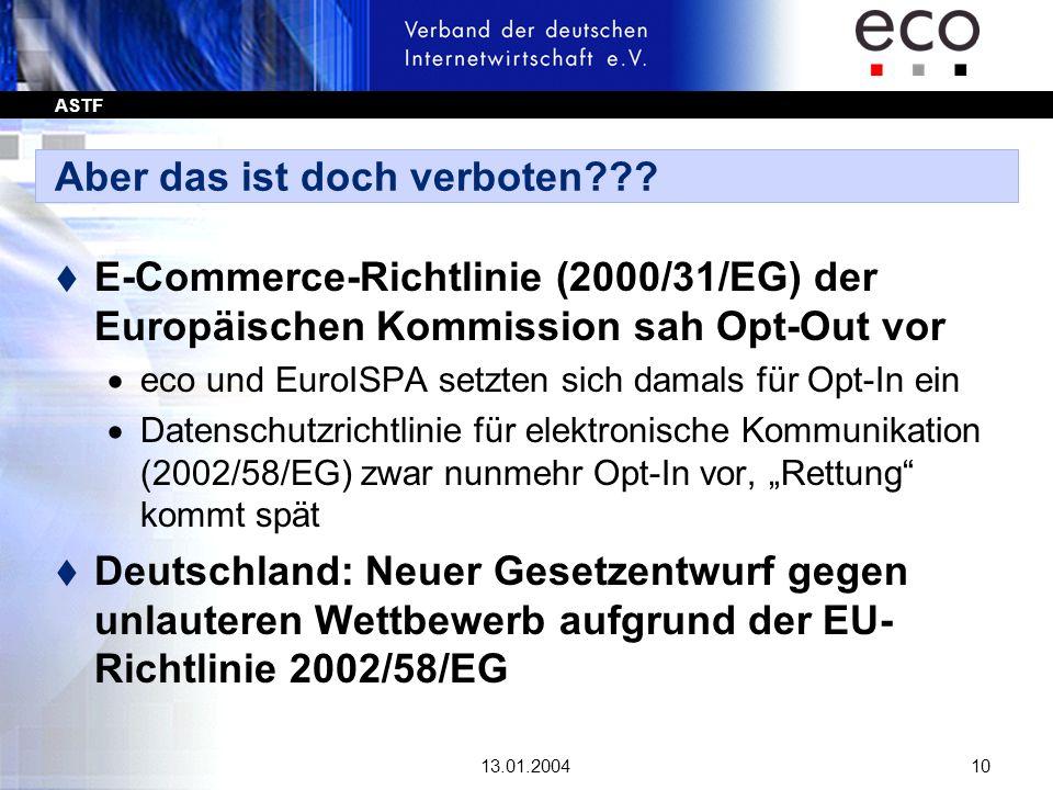 ASTF 13.01.200410 Aber das ist doch verboten??? t E-Commerce-Richtlinie (2000/31/EG) der Europäischen Kommission sah Opt-Out vor eco und EuroISPA setz